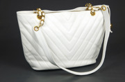 CHANEL Caviar White Tote Chevron
