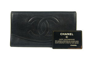 CHANEL Wallet Purse Lambskin Black