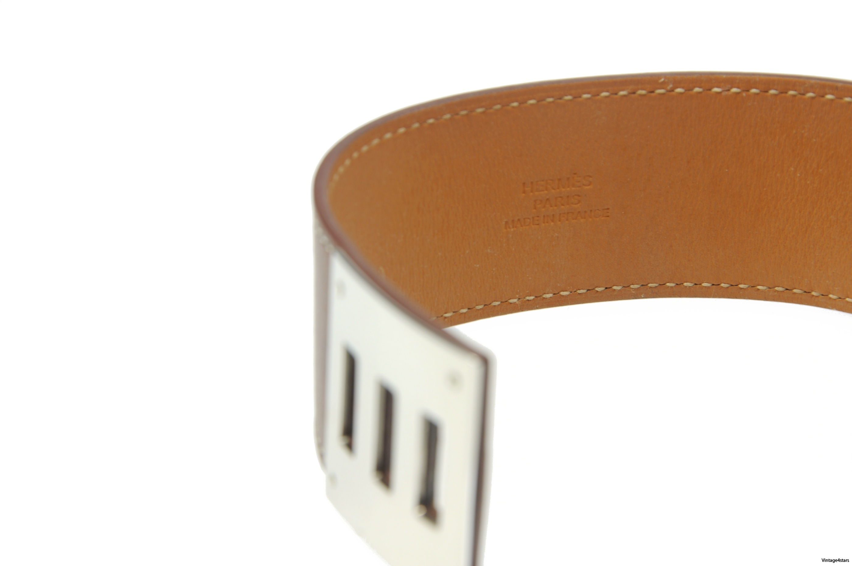 HERMES BRACELET KELLY DOG CUIR VEAU BARENIA NATUREL EN EXCELLENT ETAT 2