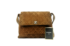CHANEL QUILTED BROWN SUEDE
