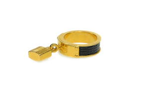 HERMÈS SCARF RING KELLY GOLD LIZARD