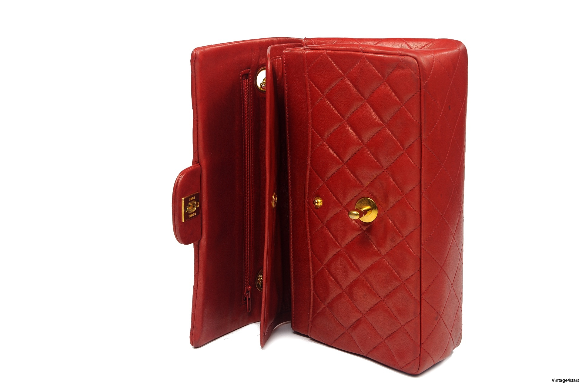 CHANEL Double Flap red 17