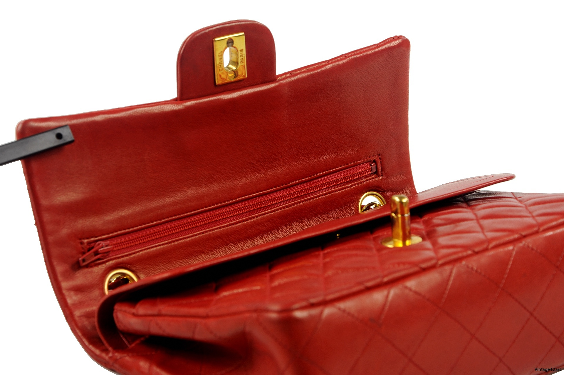 CHANEL Double Flap red 13
