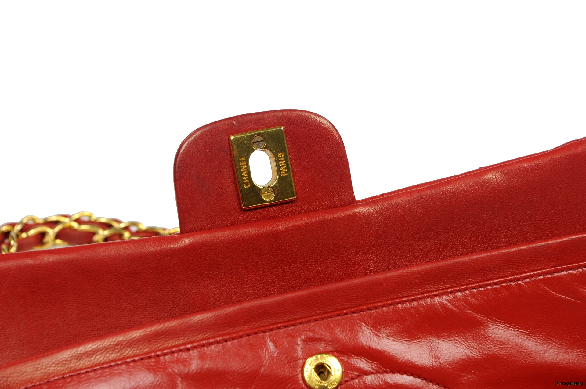CHANEL Double Flap red 15