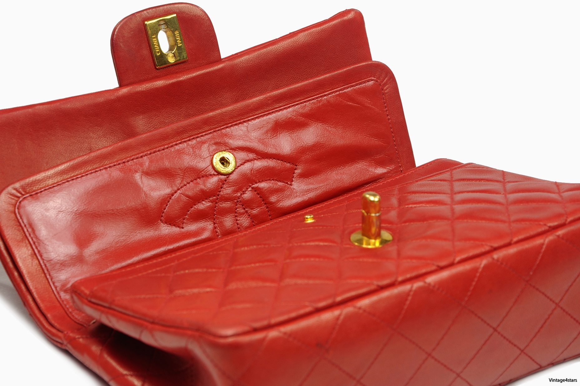 CHANEL Double Flap red 14-2