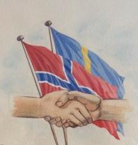 """Denna bild var symbolen för """"Greseforeningen"""" som existerade 1947-1977. Föreningen hade ett 50-tal medlemmar på båda sidor av gränsen mellan Kongsvinger och Charlottenberg. Bilden är från år 1961, en akvarell signerad Sam -61"""