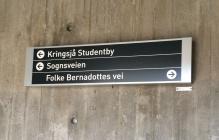 Skylt till uppgången till Folke Bernadottes vei i Oslo. Foto: Mats Wallenius.