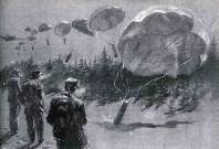 """De allierade flög till olika områden där Hjemmefronten hade sina baser och släppte ner """"containers"""" med vapen, radioutrustning mm. Illustration Andreas Hauge Christensen."""