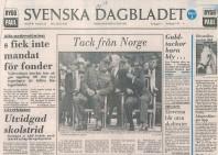 Första sidan på Svenska Dagbladet den 15 juni 1983.