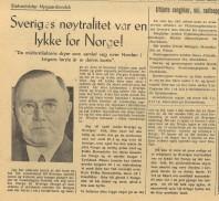 Artikel i tidningen Norges Nytt, den 22 juni 1945. Tidningen utgavs av norska Pressekontoret i Stockholm till norrmännn i exil i Sverige och hade vid krigsslutet en upplaga på ca 40.000 exemplar.