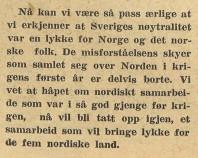 Avslutningen på Nygaardsvalds artikel i Norges Nytt den 22 juni 1945.