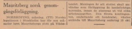Notis Svenska Dagbladet den 12 oktober 1943.