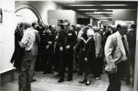 Bild från öppning av utställningen på Armémuseet den 13 juni 1983. I mitten överbefälhavare Lennart Ljung och till vänster om honom Norges försvarschef general Sven Aa. Hauge. Foto Armémuseets arkiv.