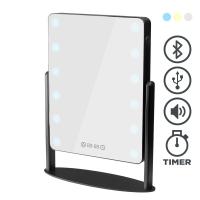 Tischspiegel mit Beleuchtung (3 Farben), USB-Anschluss, Bluetooth, Digitaluhr