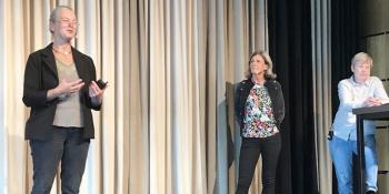 Anna Richard, WWF, Agneta Påander, Orkla Foods och Åsa Domeij, Axfood, presenterar branschinitiativet Hållbar Livsmedelskedja. Foto: Joachim Björk