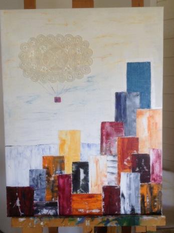 """"""" Ballongfärd"""" oil on canvas+lace"""