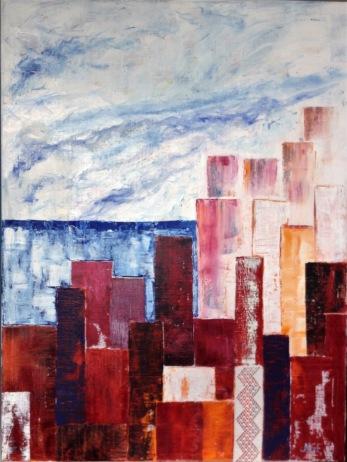 """""""Utsikt 3  """"  oil on canvas + lace"""
