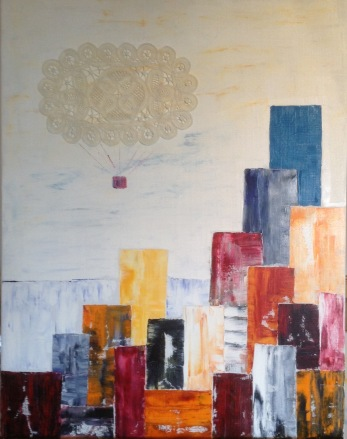 """ Ballongfärd"" oil on canvas+lace  SÅLD!"