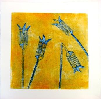 """"""" Iris"""" collografi  20x20 cm   Pris: 1800:-"""