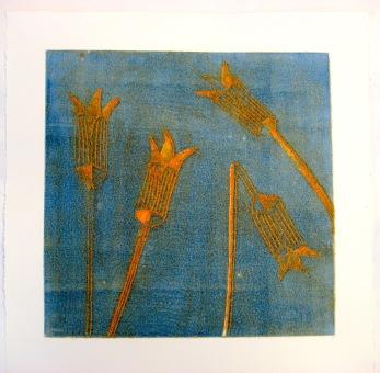 """""""Iris"""" collografi  20x20 cm  Pris: 1800:-"""