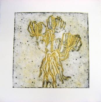 """Kejsarkrona""  Collografi  20x20 cm Pris: 1800:- (såld)"