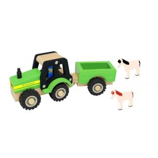 Traktor Trä m Släp & Hästar -