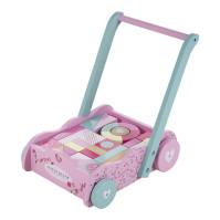 Lära gå vagn med klossar Blossom Pink
