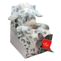 Fleecefilt med Gosedjur Giraff