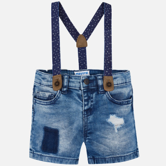 Mayoral - Shorts, denim, m hängslen - Stl. 24 mån