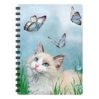 Anteckningsbok 3D - Katt & Blå Fjärilar