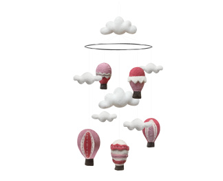 Mobil 100 % Ull - Rosa Luftballonger -