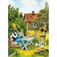 Affisch Pettson & Findus Kalas i Trädgården