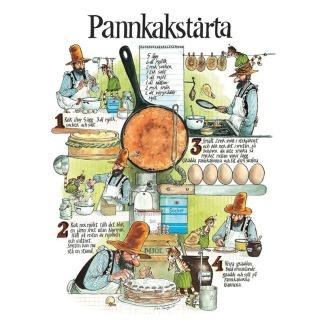 Vykort A4 Pannkakstårta Recept Pettson & Findus -