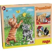 HABA Pussel Husdjur, 3 olika