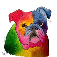 Bulldog Poster 30 x 30 cm