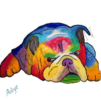 Bulldog liggande Poster 30 x 30 cm -
