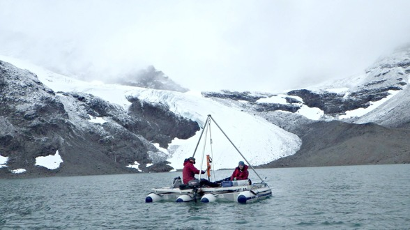 Sediment coring at Tarfala Lake. Photo by Gunhild Rosqvist