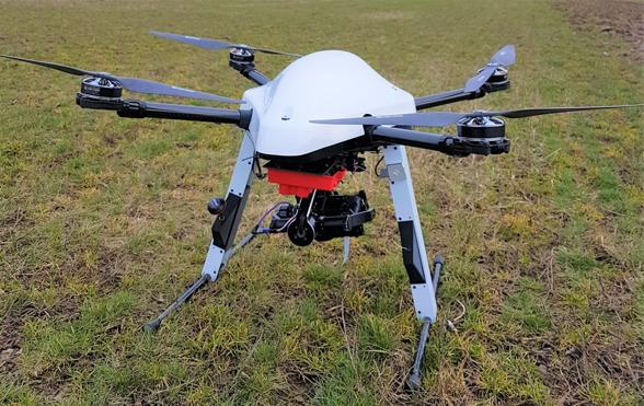 Fig. 6. The Explorian 8 UAV. Photo by Ximena Tagle.