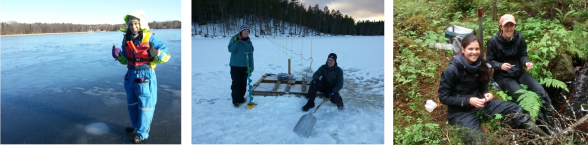 Sampling ice-covered lake Erken with Monica Ricao Canelhas (left) and Stortjärn lake with Marcus Klaus (middle, photo credit Erik Geibrink) and Stortjärn lake outlet stream with Anna Lupon (right, photo credit Ishi Buffman).