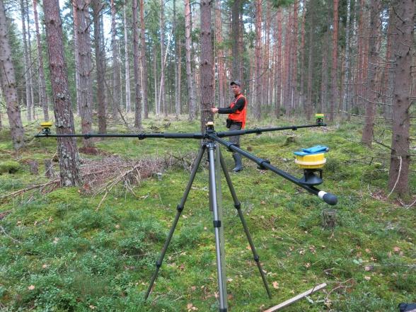 E. Kristensen inventerar en av 234 cirkelprovytor som används som referensyta vid laserscanning. Varje inmätt träd koordinatsätts för ökad precision när ytan används för att kalibrera laserdata.