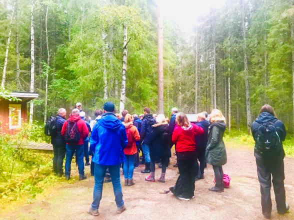 Deltagarna besökte den 150 meter höga Svartbergsmasten. En del av ICOS infrastruktur. Foto: Charlotta Erefur.