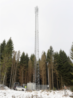 The picture shows a similar radar tower in Remningstorp, which in a collaboration between the Swedish University of Agricultural Sciences and Chalmers University of Technology.