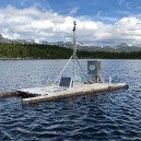 Floating platform installed on Lake Almbergasjön, measuring physical variables along a depth profile as part of the monitoring at Abisko Scientific Research Station. Photographer: Niklas Rakos.