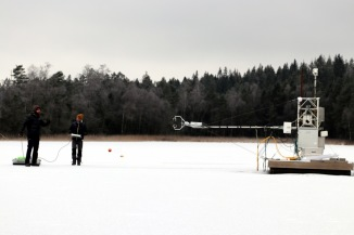 Some of the sediment sampling was done close to the platform used for measurements in SITES Water. Photo: Leif Klemedtsson.