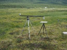 Calibration of a Skye Ltd. multispectral sensor (large tripod) using a reflectance panel (small tripod). Photo: Lars Eklundh.