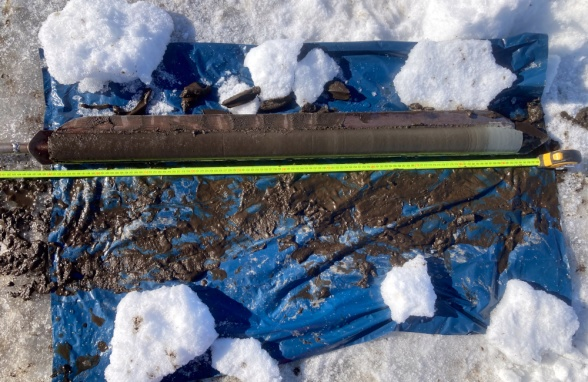 A sediment core from Lake Almbergasjön collected using a Russian Corer. Photo: Erik Lundin.
