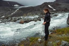 Discharge measurements at Lillsjön, Tarfala Valley. Photo: Karuna Sah.