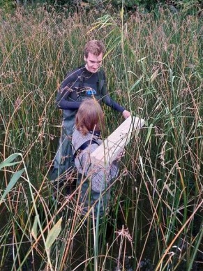 Nils Kreuter and Evelina Hiltunen get creative in collecting sediment from the shallow reed belt sampling location. Photo: Christer Strandberg.