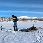 Measurements and water sampling at Almberga lake, as part of the SITES Water. Photo: Niklas Rakos.