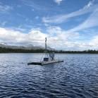 Raft at Lake Almberga, where e.g. temperature profiles are measured.